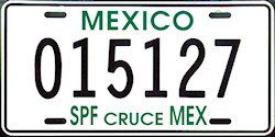 SPF Mexico License Plate Placa border crossing cruce