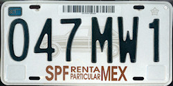 SPF Mexico License Plate Placa rental car renta particular
