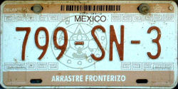 SPF Mexico License Plate Placa border truck arrastre fronterizo