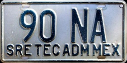 Mexico License Plate Placa diplomatic embassy staff tec adm diplomatico