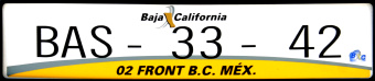 Baja California Fronteriza Mexico License Plate Placa European Euro sized