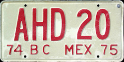 Baja California Mexico License Plate Placa commercial truck camion publico