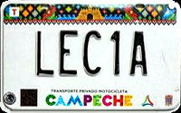 2017 Campeche Mexico License Plate Placa motorcycle motocicleta