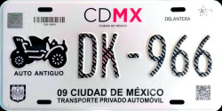 CDMX Ciudad de México License Plate Placa antique auto antiguo