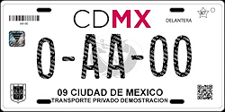 CDMX Ciudad de México License Plate Placa dealer demostracion