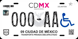 CDMX Ciudad de México License Plate Placa handicapped discapacitados