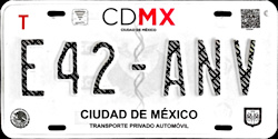 2017 CDMX Ciudad de Mexico DF Mexico License Plate Placa