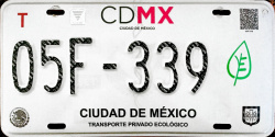 CDMX Ciudad de México License Plate Placa eco-friendly automovil ecologico