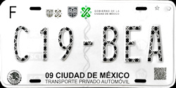Ciudad de Mexico License Plates Placas