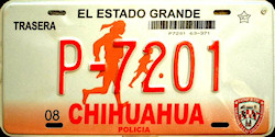 Chihuahua Mexico License Plate Placa police policia