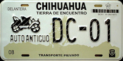 Chihuahua Mexico License Plate Placa antique auto antiguo