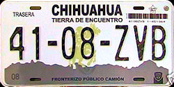 Chihuahua Mexico License Plate Placa Fronteriza commercial truck camion publico