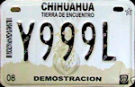 Chihuahua Mexico License Plate Placa motorcycle dealer demostracion motocicleta