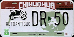 Chihuahua Mexico License Plate Placa Fronteriza antique auto antiguo