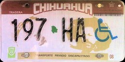 Chihuahua Mexico License Plate Placa handicapped discapacitados