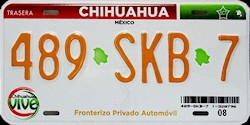 Chihuahua Mexico License Plate Placa Fronteriza
