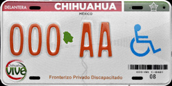 Chihuahua Mexico License Plate Placa Fronteriza handicapped discapacitados