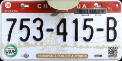 Chihuahua Mexico License Plate Placa commercial bus autobus publico
