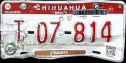 Chihuahua Mexico License Plate Placa transit police policia transito