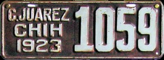 Ciudad Juarez Chihuahua Mexico License Plate Placa