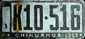 Chihuahua Mexico License Plate Placa commercial publico