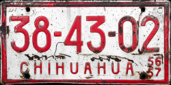 Chihuahua Mexico License Plate Placa commercial truck trailer camion remolque publico