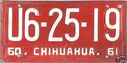 Chihuahua Mexico License Plate Placa commercial truck camion publico