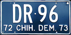 Chihuahua Mexico License Plate Placa dealer demostracion