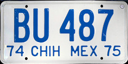 Chihuahua Mexico License Plate Placa trailer remolque
