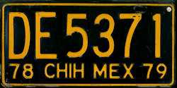 Chihuahua Mexico License Plate Placa truck camion