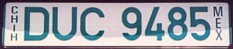 Chihuahua Mexico License Plate Placa European Euro sized