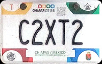 2017 Chiapas Mexico License Plate Placa motorcycle motocicleta