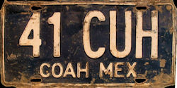 Coahuila Mexico License Plate Placa taxi publico