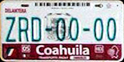 Coahuila Mexico License Plate Placa Fronteriza bus autobus