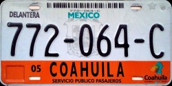 Coahuila Mexico License Plate Placa passenger transport bus autobus pasajeros