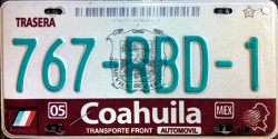 Coahuila Mexico License Plate Placa Fronteriza
