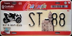 Coahuila Mexico License Plate Placa antique auto antiguo