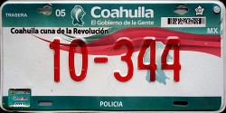 Coahuila Mexico License Plate Placa police policia preventiva