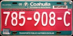 Coahuila Mexico License Plate Placa school bus autobus escolar