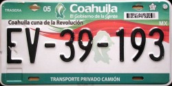 Coahuila Mexico License Plate Placa truck camion