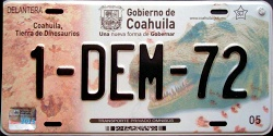 Coahuila Mexico License Plate Placa bus autobus