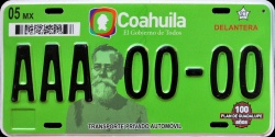 Coahuila Mexico License Plate Placa prototype prototipo