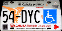 Coahuila Mexico License Plate Placa Fronteriza handicapped discapacitados