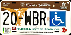 Coahuila Mexico License Plate Placa handicapped discapacitados
