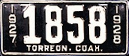 Torreon Coahuila Mexico License Plate Placa