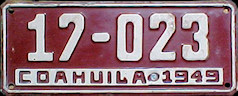 Coahuila Mexico License Plate Placa taxi bus autobus publico