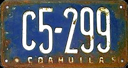 Coahuila Mexico License Plate Placa commercial publico