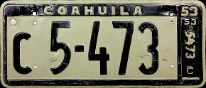 Coahuila Mexico License Plate Placa