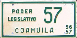 Coahuila Mexico License Plate Placa legislature poder legislativo