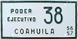 Coahuila Mexico License Plate Placa executive poder ejecutivo